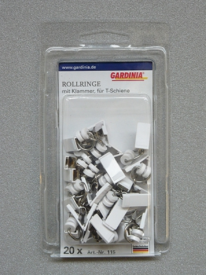 Gardinia T-görgő csíptetővel 115